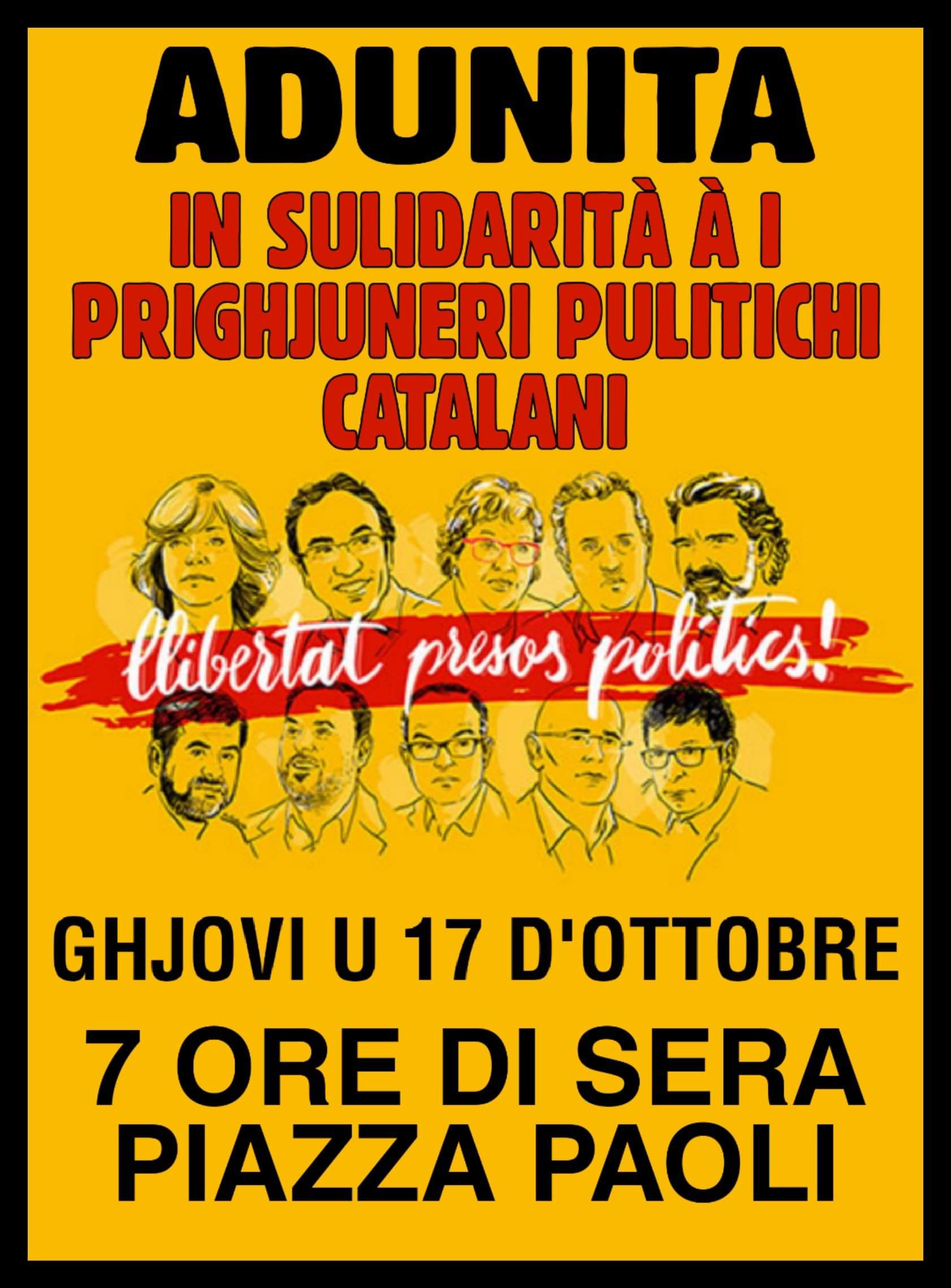 Adunita in Corti in sulidarità a i prighjuneri pulitichi catalani