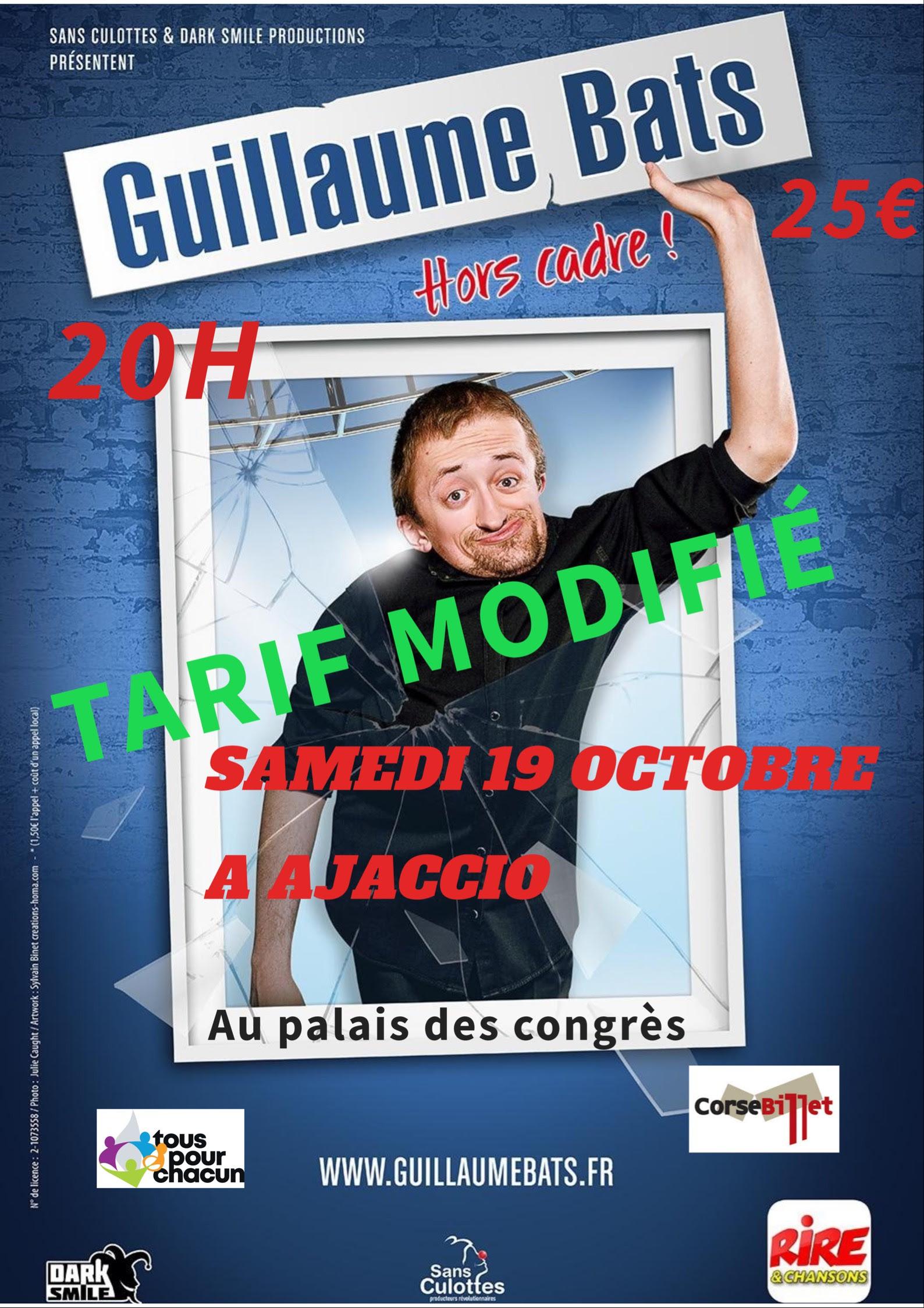 "Guillaume Bats ""Hors Cadre"" ce samedi à Ajaccio"
