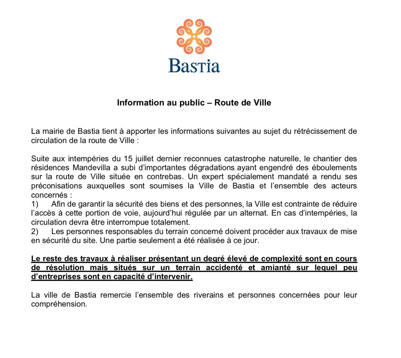 Intempéries à Bastia : Une portion de la route de Ville fermée