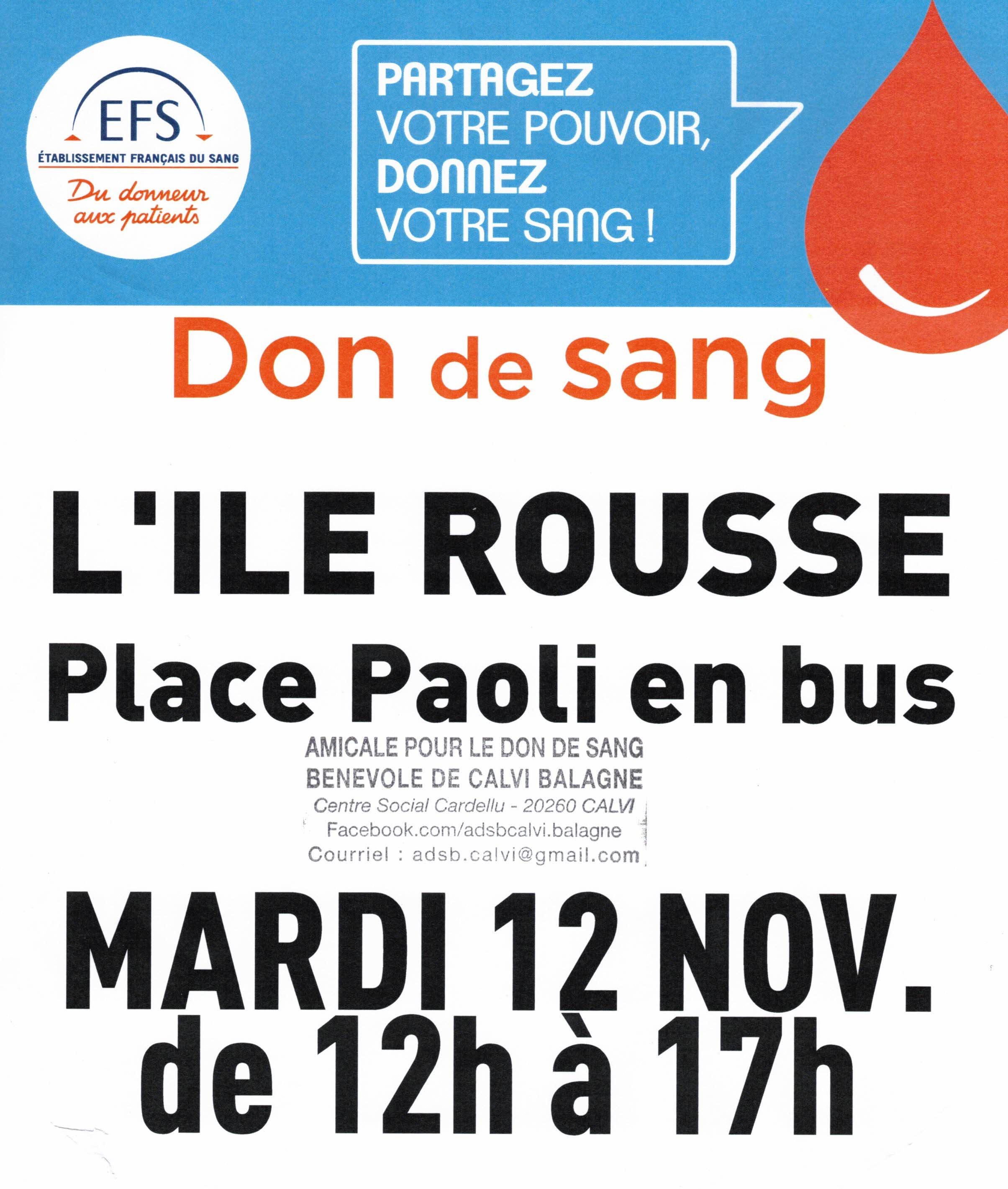Don du sang : le 12 novembre de 12 h à 17 heures à Lisula