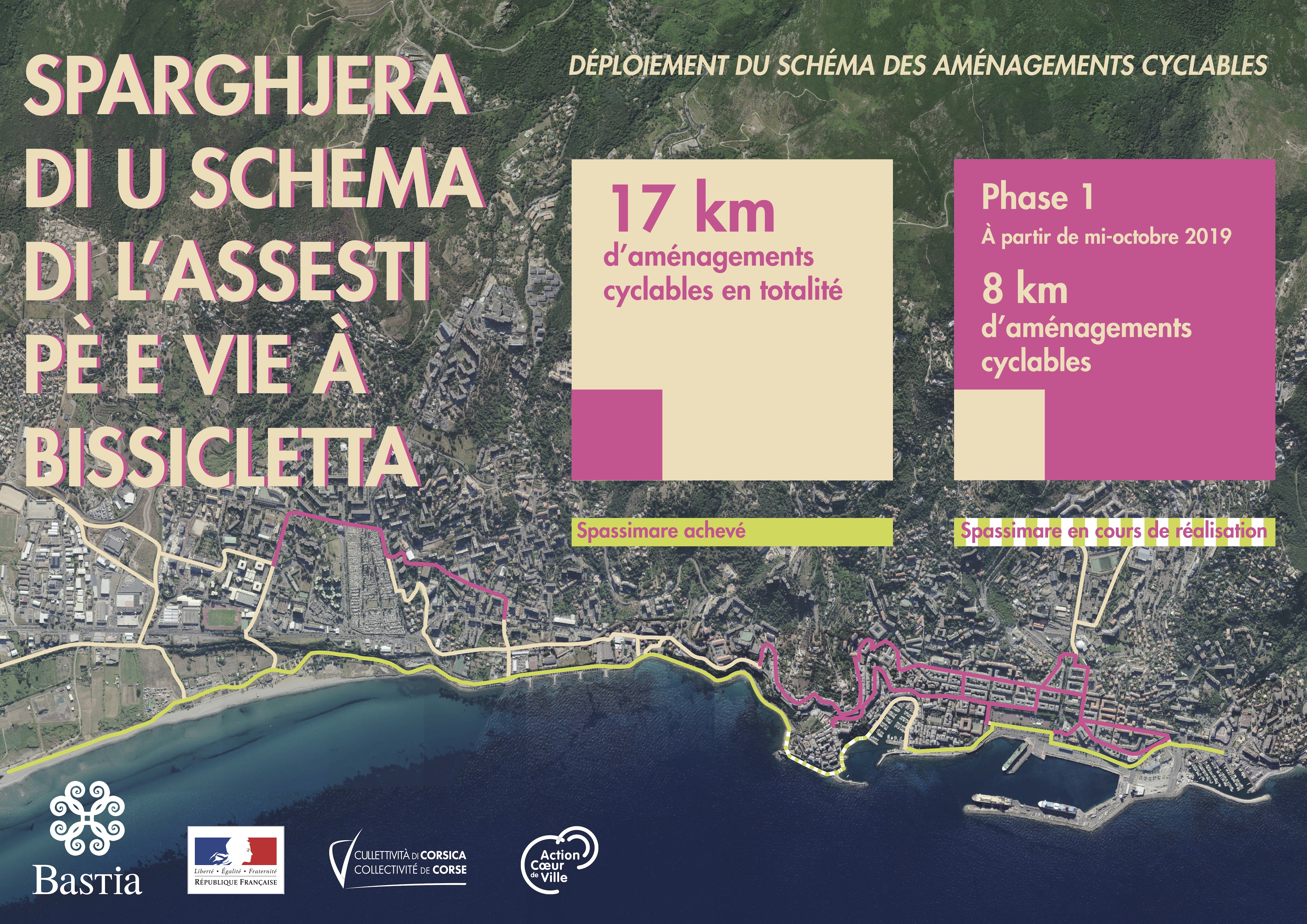 Le plan des pistes cyclables en construction et réalisées à Bastia.