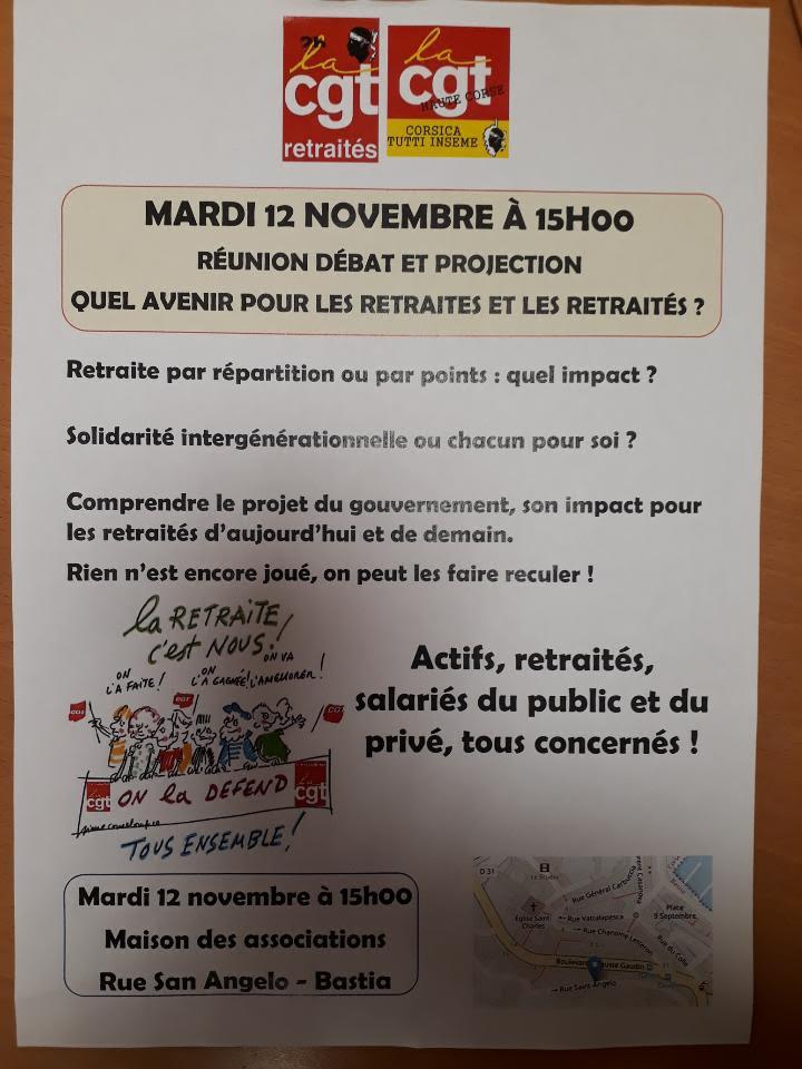 Une réunion sur l'avenir des retraités ce 12 novembre à Bastia