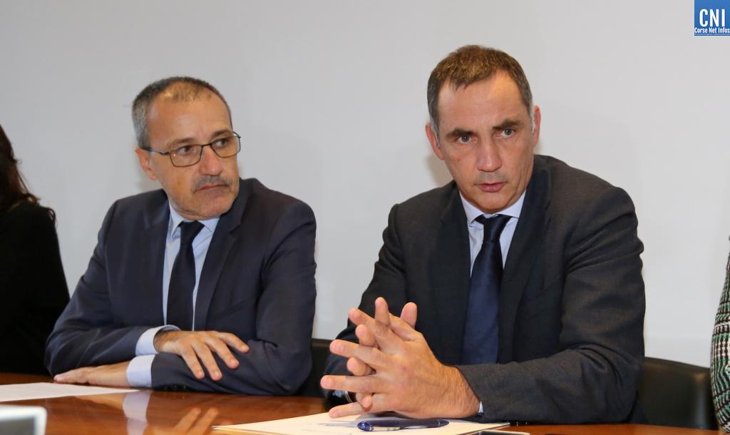 Le président de l'Assemblée de Corse, Jean-Guy Talamoni, et le président du Conseil exécutif de la Collectivité de Corse, Gilles Simeoni. Photo Michel Luccioni