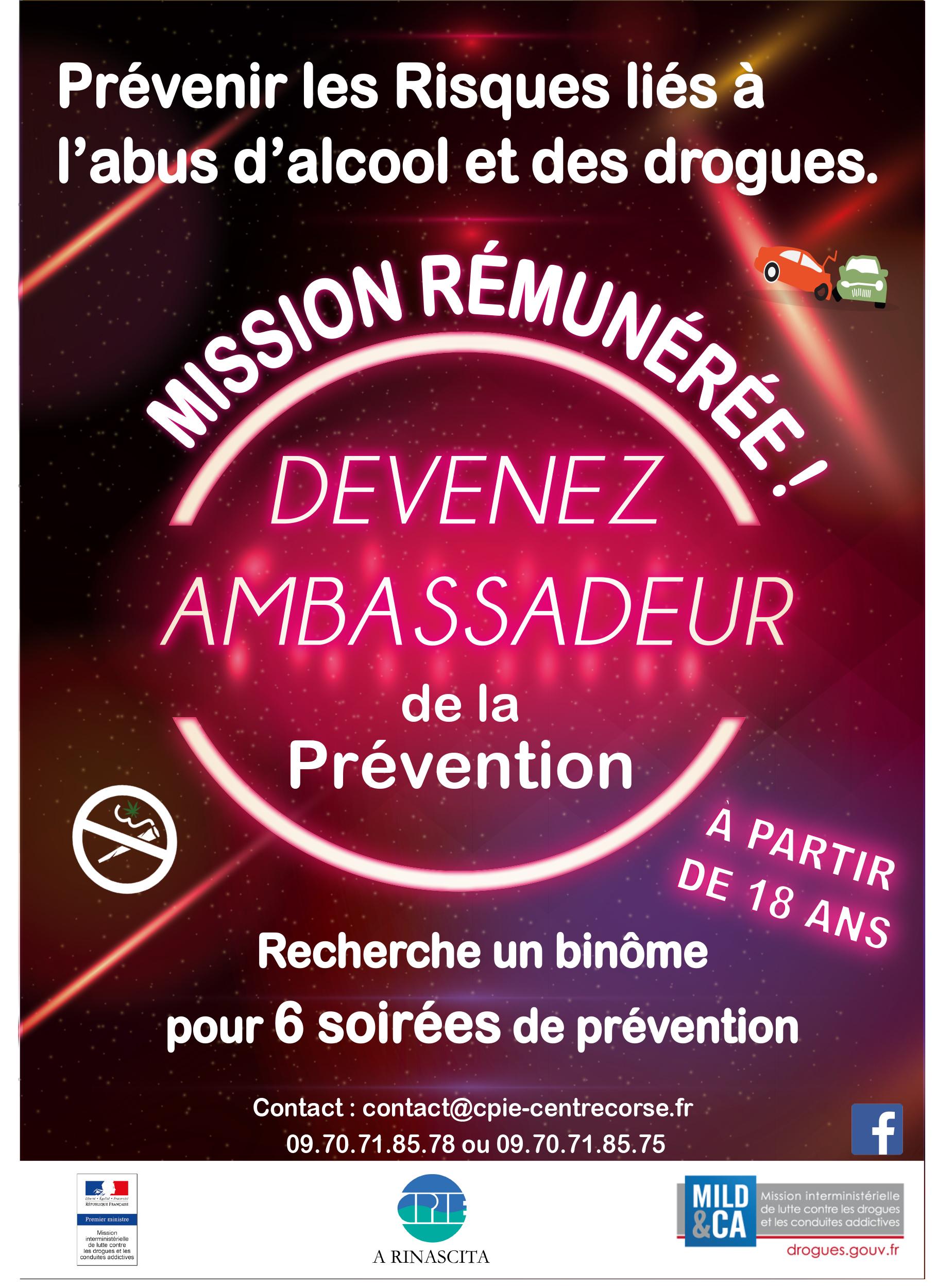 Emploi : Devenez ambassadeurs de la prévention