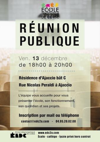 Ajaccio : Une réunion publique à l'Ecole démocratique de Corse ce 13 décembre