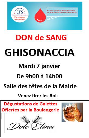 Don du sang : une collecte ce mardi à Ghisonaccia
