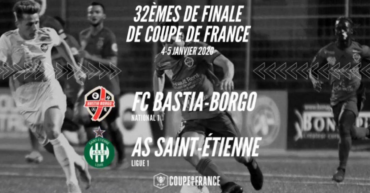 Coupe de France de football - Bastia Borgo / AS Saint Etienne, en direct sur France 3 Corse et Via Stella ce dimanche 5 janvier à 14 heures