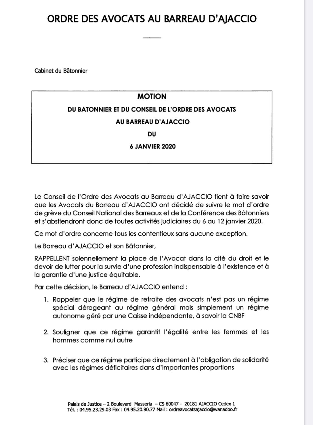 Ajaccio : grève des avocats contre la réforme des retraites pendant une semaine