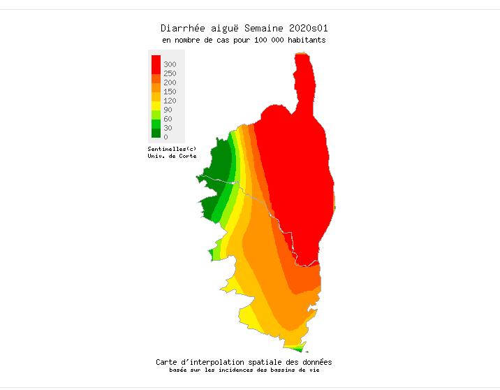 Gastro-entérite : La Haute-Corse dans le rouge