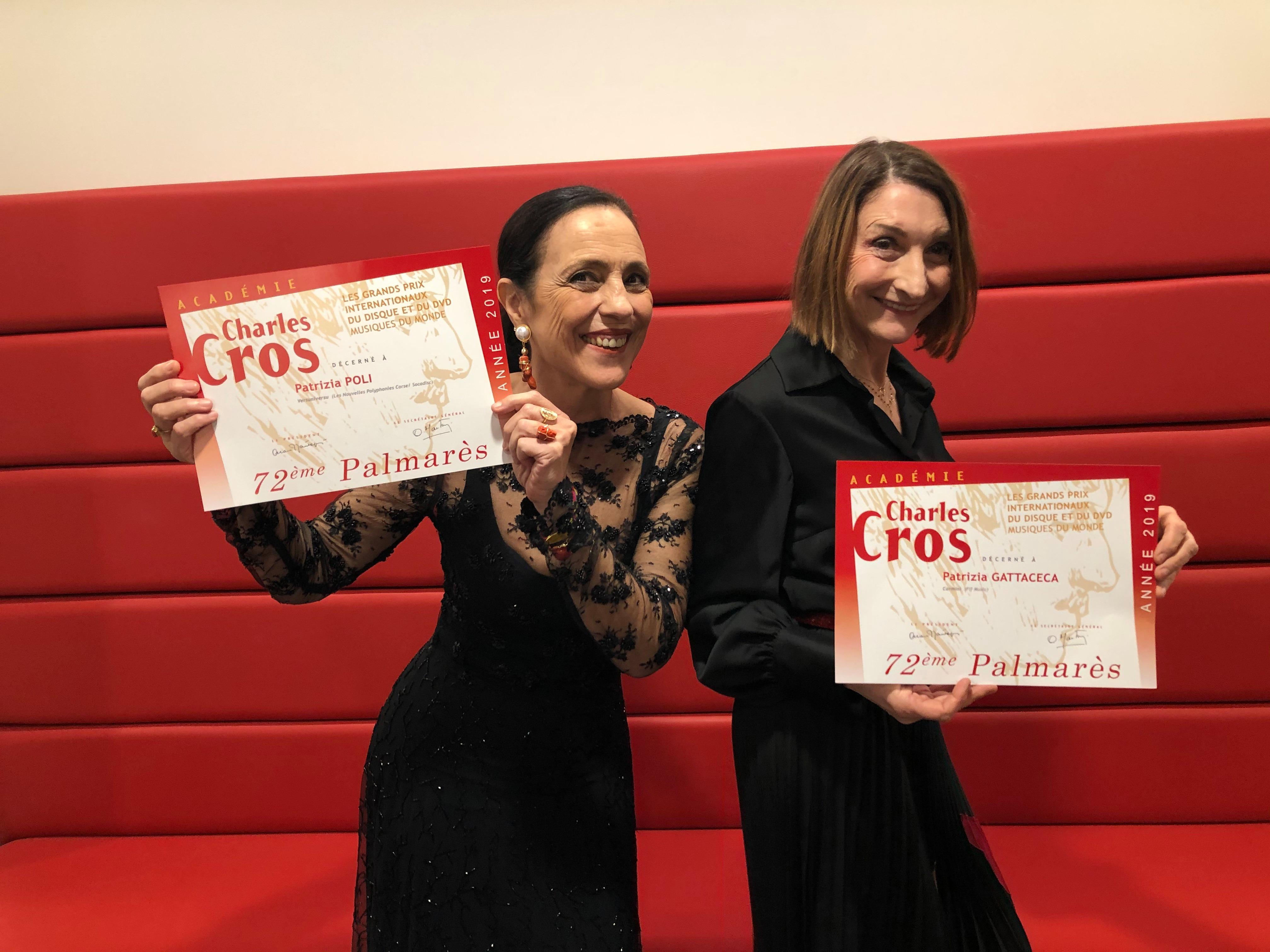 Patrizia Poli et Patrizia Gattaceca récompensées par l'Académie Charles Cros