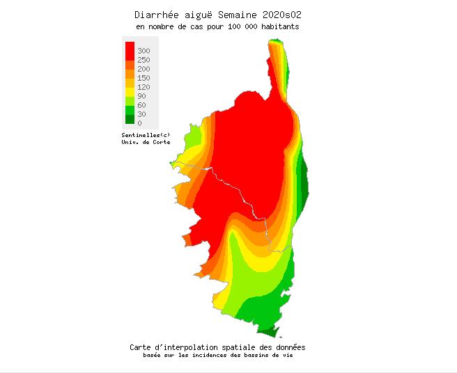 Carte de l'épidémie Réseau Sentinelles