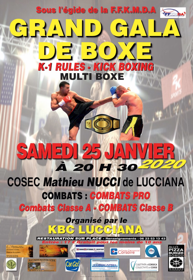 Lucciana : Belle affiche pour le 9ème gala du KBC Lucciana ce samedi 25 janvier