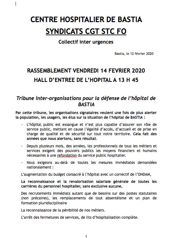Bastia  : Un rassemblement pour « sauver l'hôpital public » ce 14 février