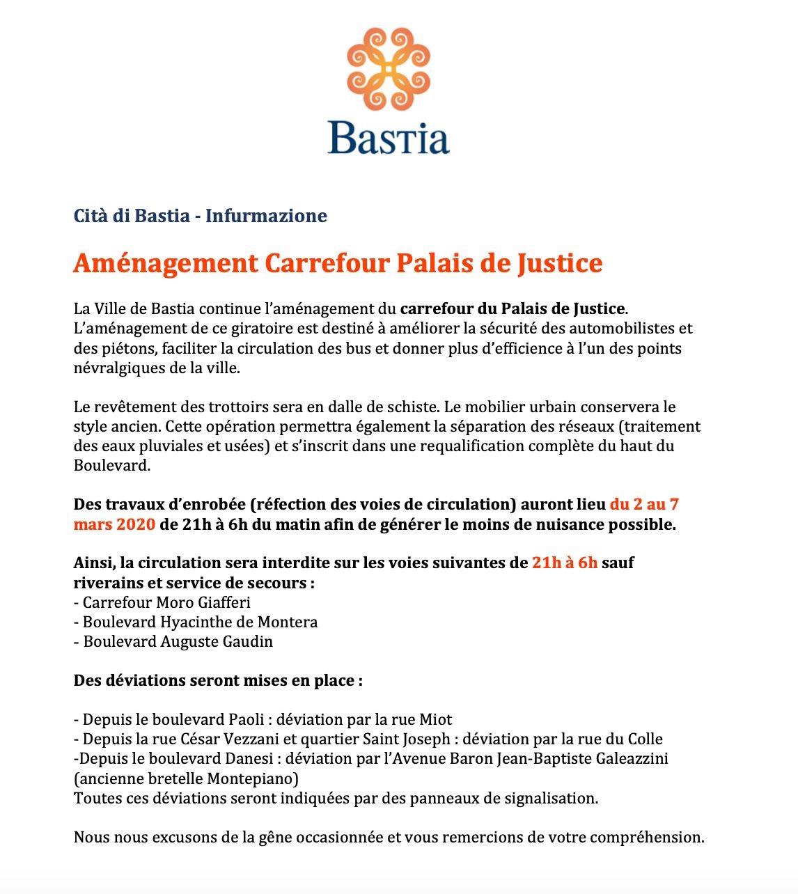 Bastia : Le bd Gaudin et le bd Montera fermés à la circulation les nuits du 2 au 7 mars