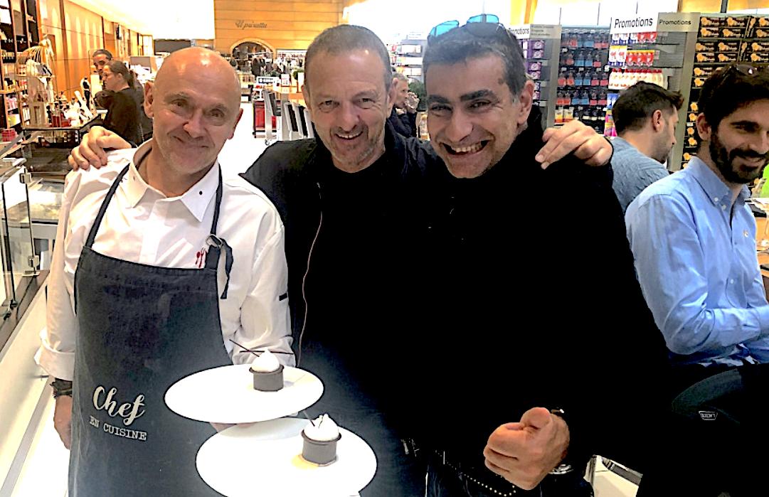 Richard Toix et François Padrona (au centre) :la cuisine étoilée au Leclerc de Baleone ( Photo Michel Luccioni)