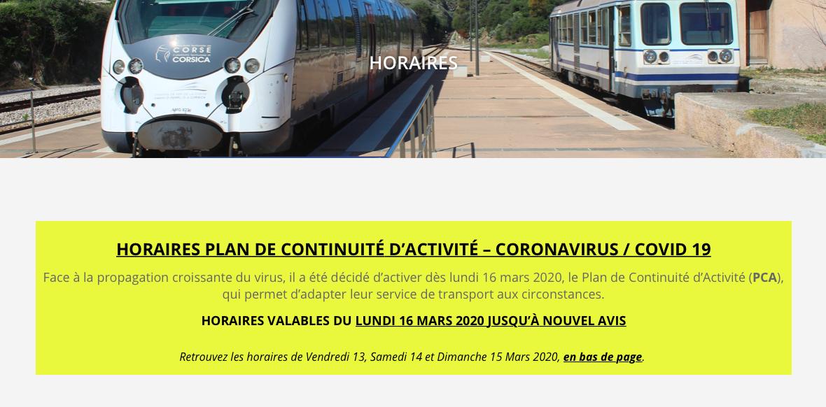 Les trains corses s'organisent pour poursuivre leur activité malgré le coronavirus
