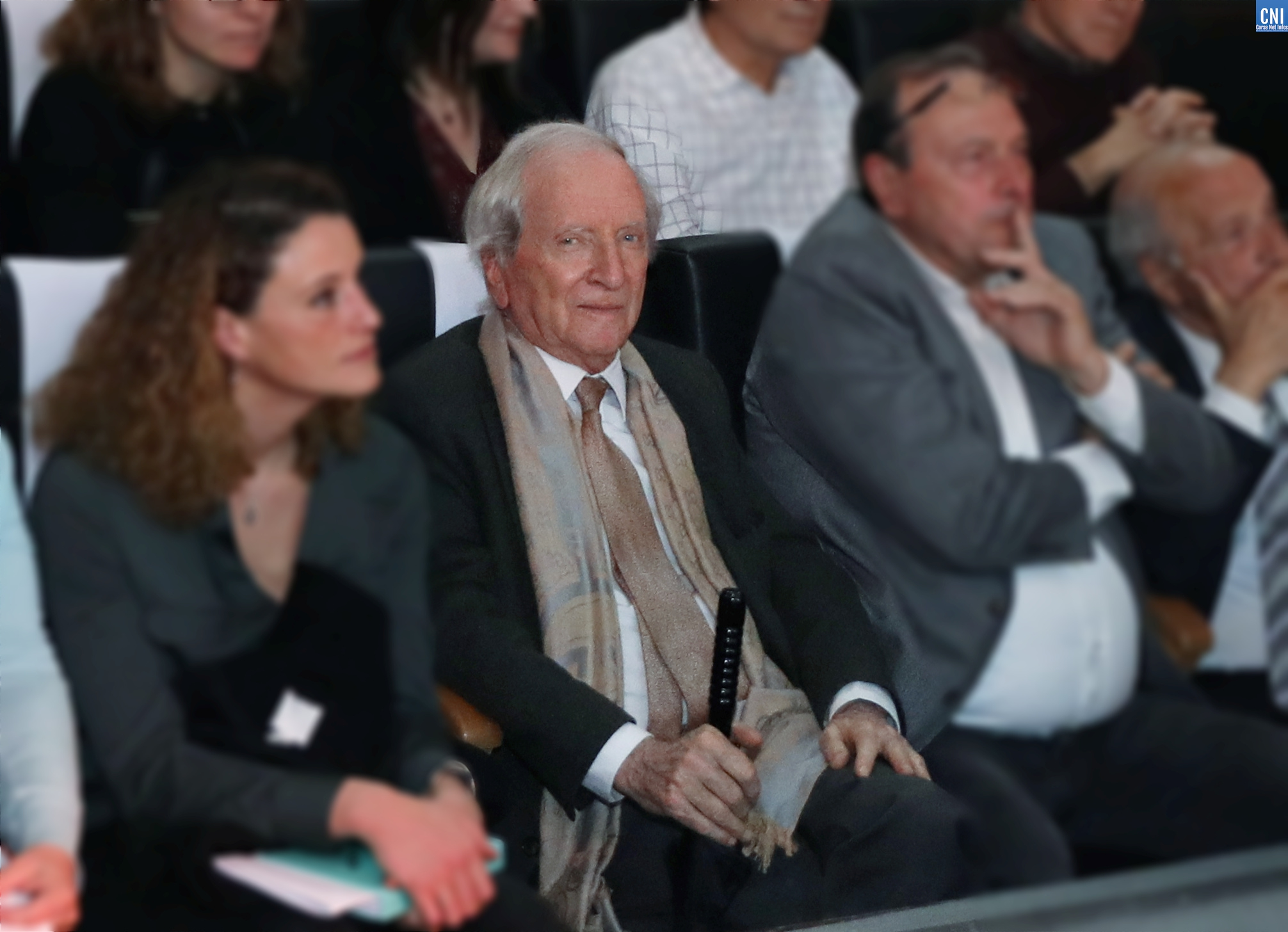 La dernière sortie publique de Nicolas Alfonsi, le 4 mars dernier, au meeting d' Etienne Bastelica à Ajaccio. PHOTO MICHEL LUCCIONI