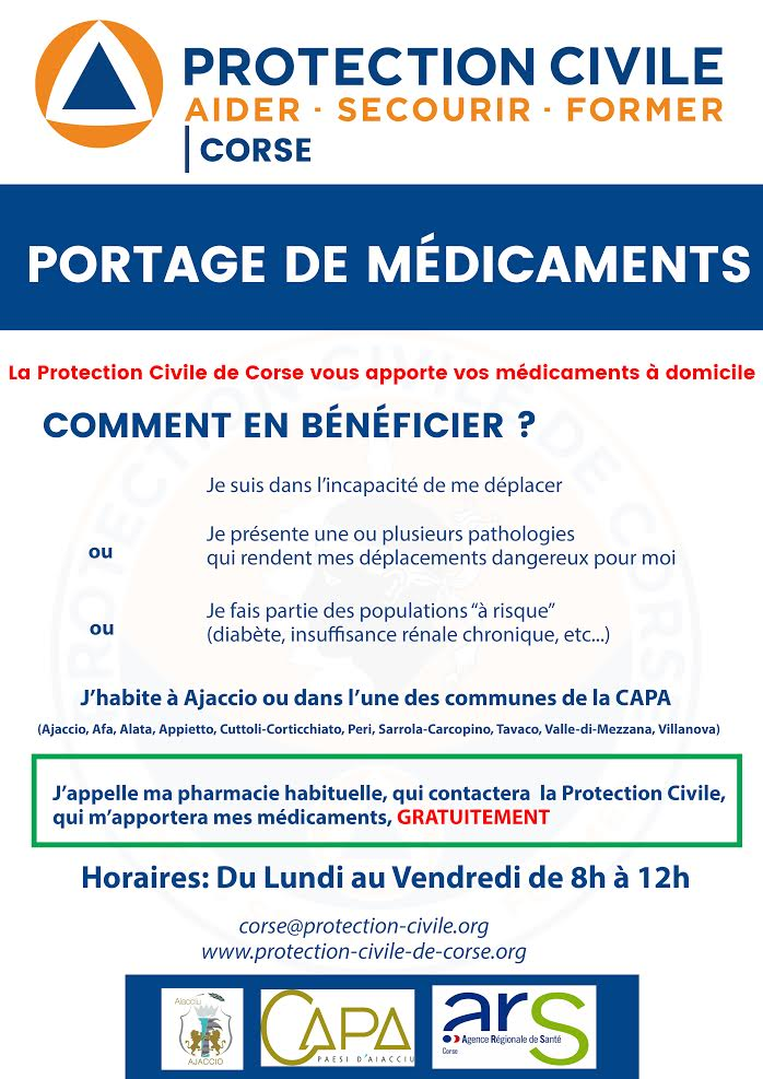 Covid- 19 - Corse-du-Sud : un service de portage de médicaments à domicile