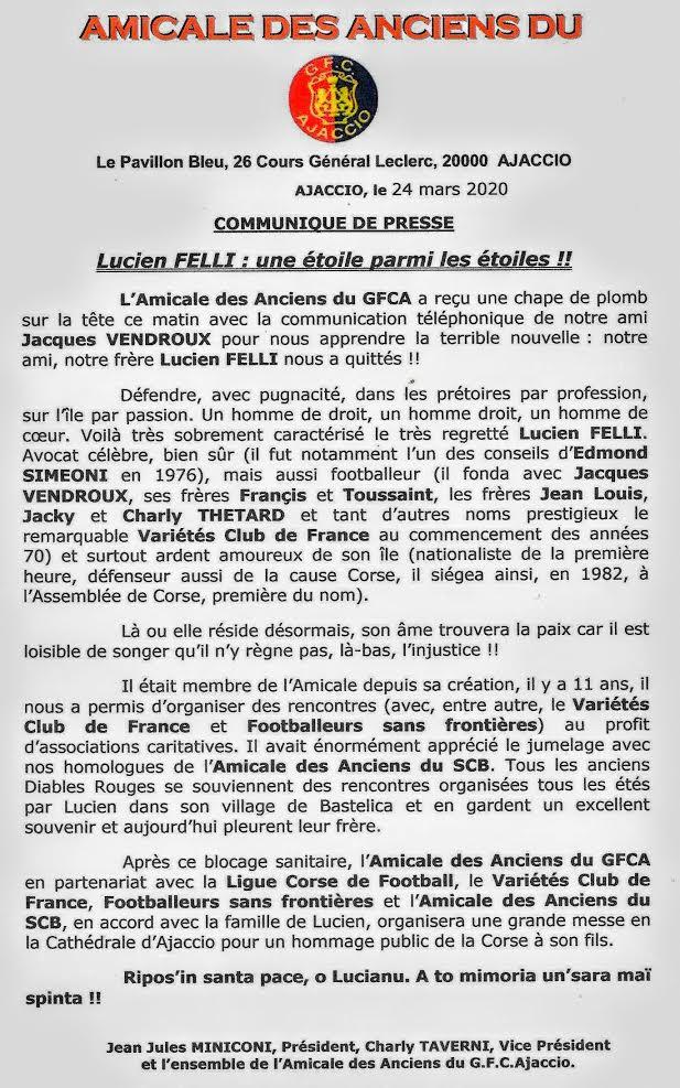 Hommages à Lucien Felli