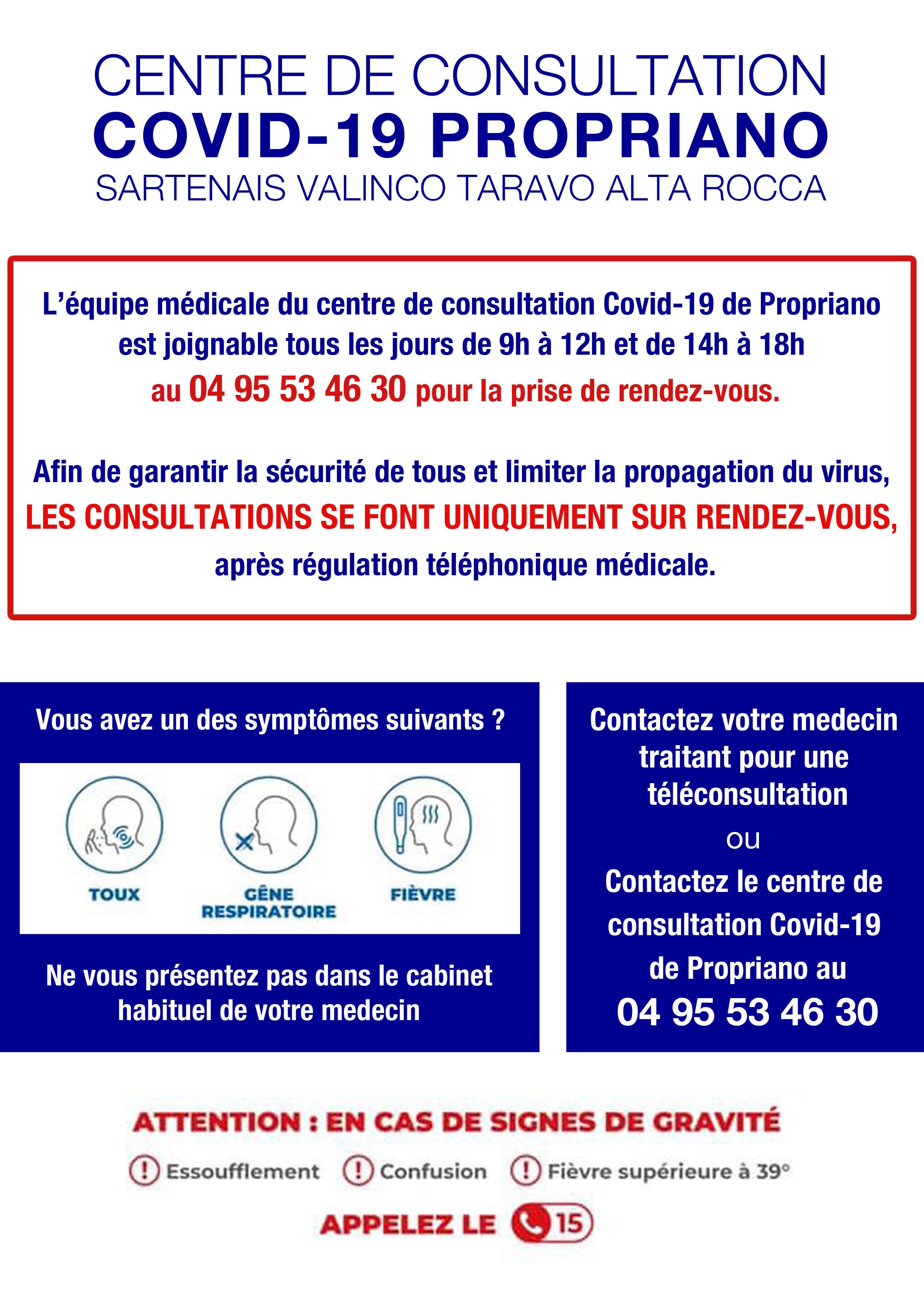 Coronavirus : un centre de consultations regroupées à Propriano
