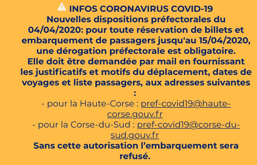 La Corsica Ferries a informé ses éventuels passagers de toutes ces dispositions