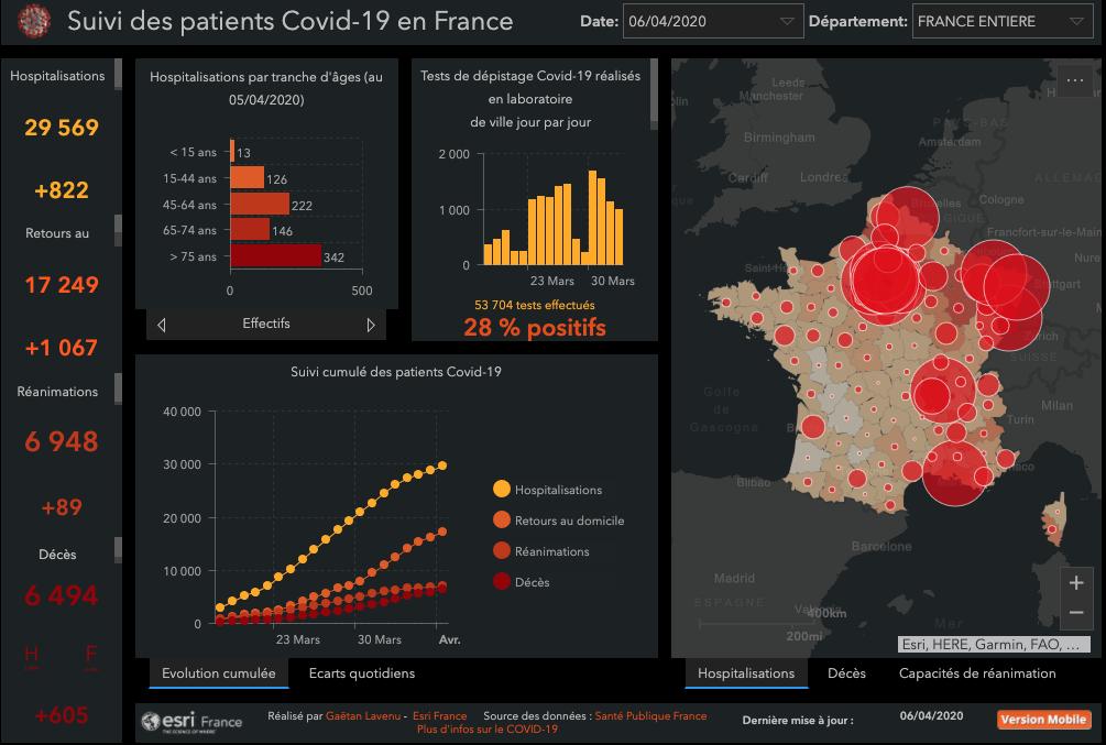 La carte interactive du coronavirus en France. Cliquez pour l'activer