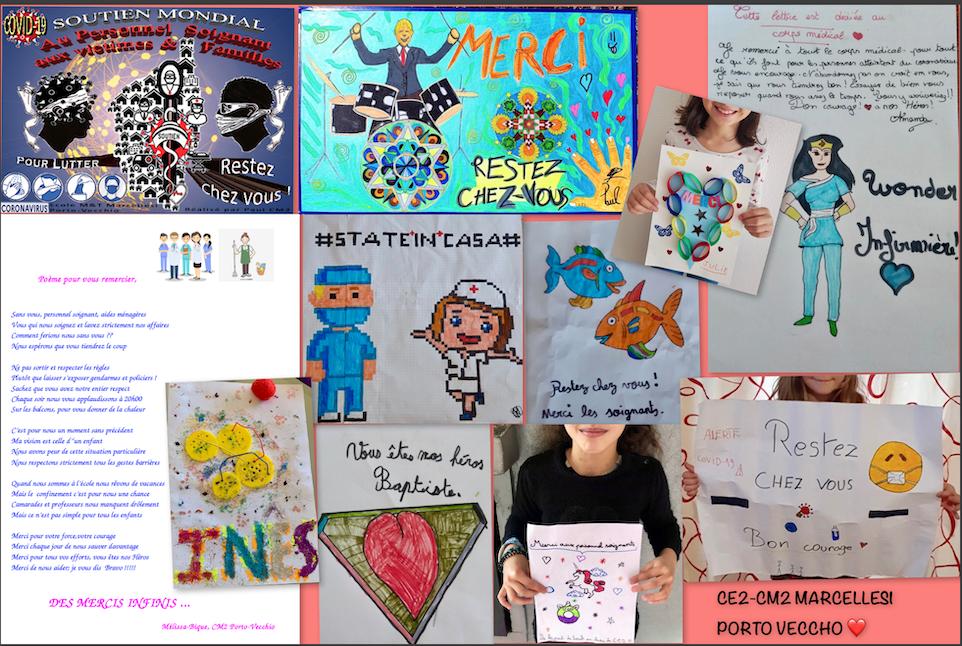 Ils combattent tous les jours le coronavirus : l'hommage de la classe de CE2-CM2 bilingue de l'école Marcellesi de Porto-Vecchio