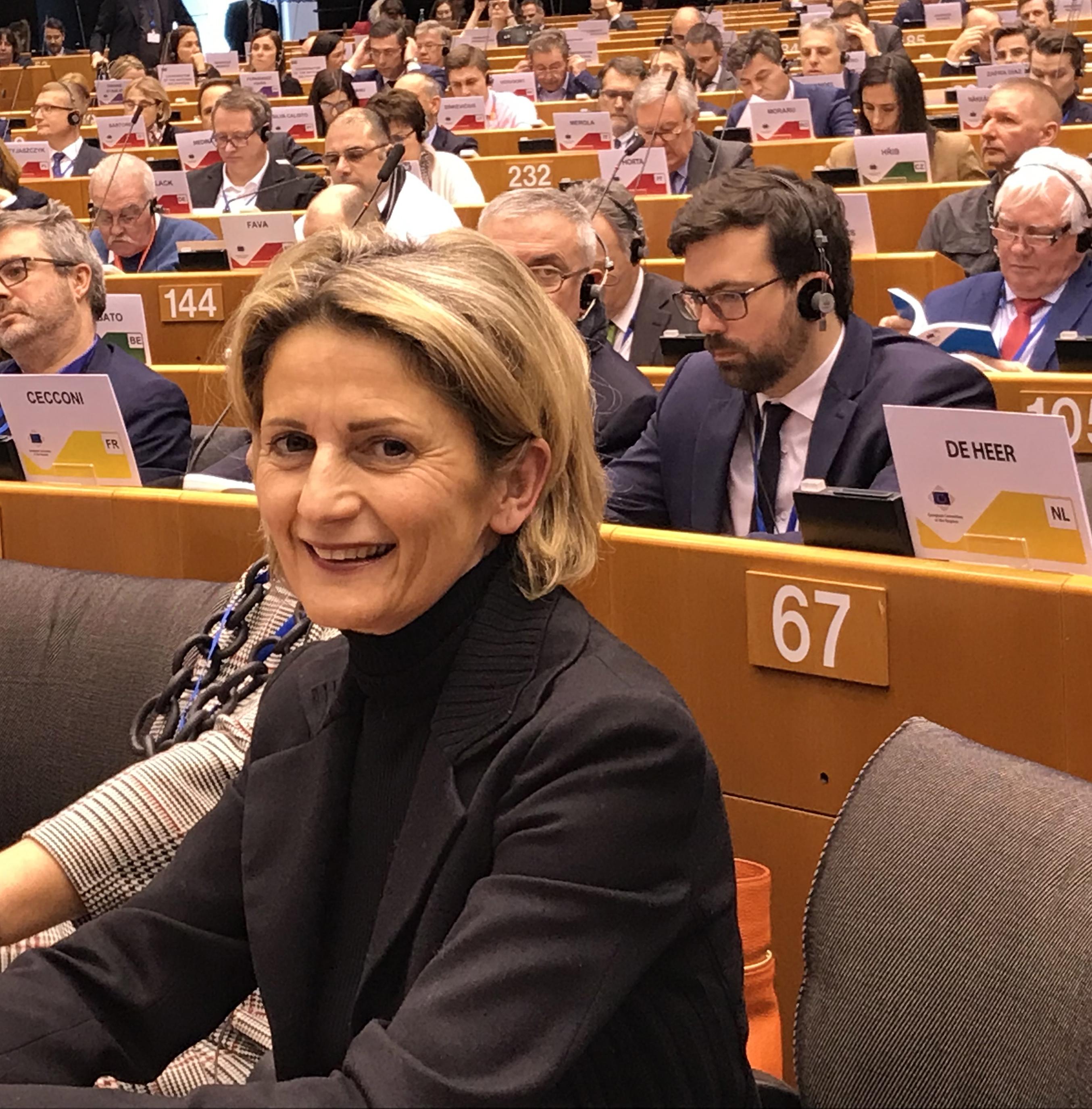 Nanette Maupertuis, lors de la séance d'investiture du nouveau Comité des régions à Bruxelles en février.