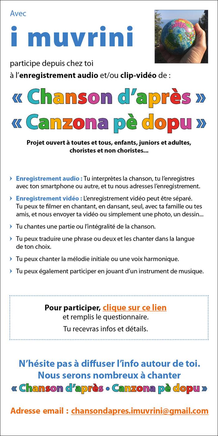 """Covid-19 -  """"Chanson d'après-Canzona pè dopu"""" : participez à son enregistrement avec I Muvrini"""