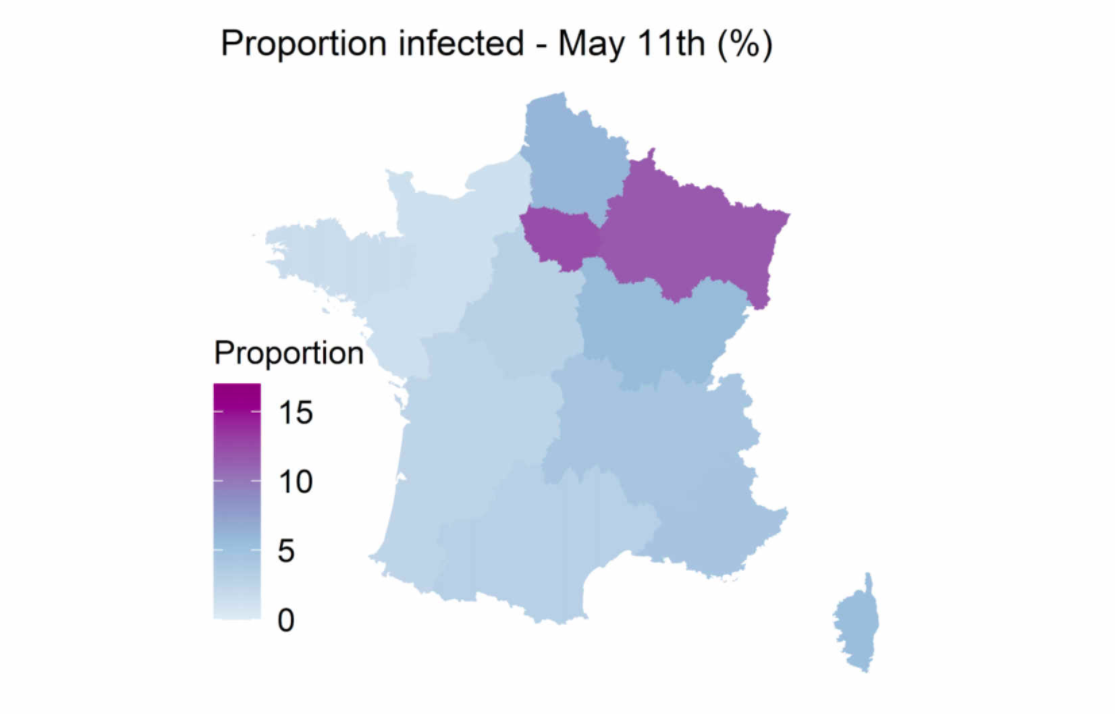 Projection du taux d'infection de la population à Covid-19 au 11 mai // Source : Institut Pasteur