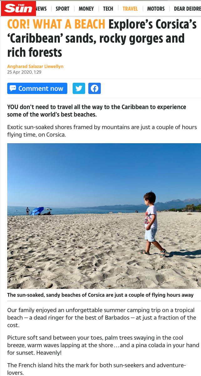 """Tourisme : Quand le """" The Sun"""" vante les charmes de la Corse en pleine pandémie"""