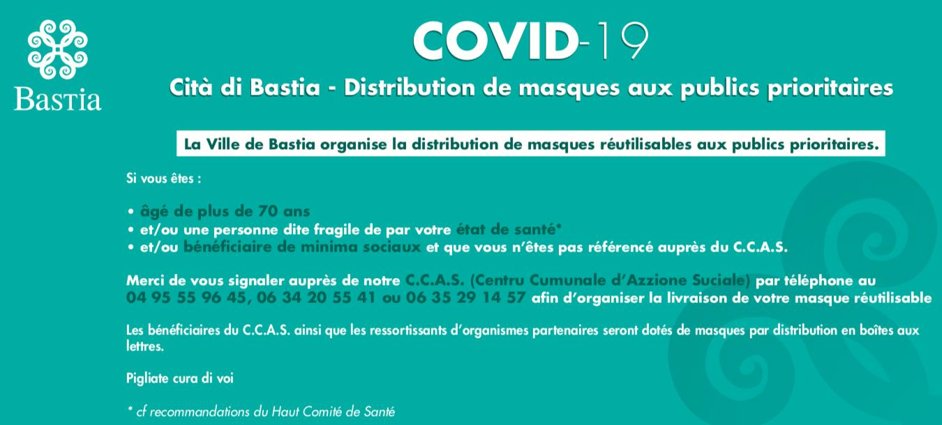 A Bastia la distribution des masques aux personnes prioritaires a commencé