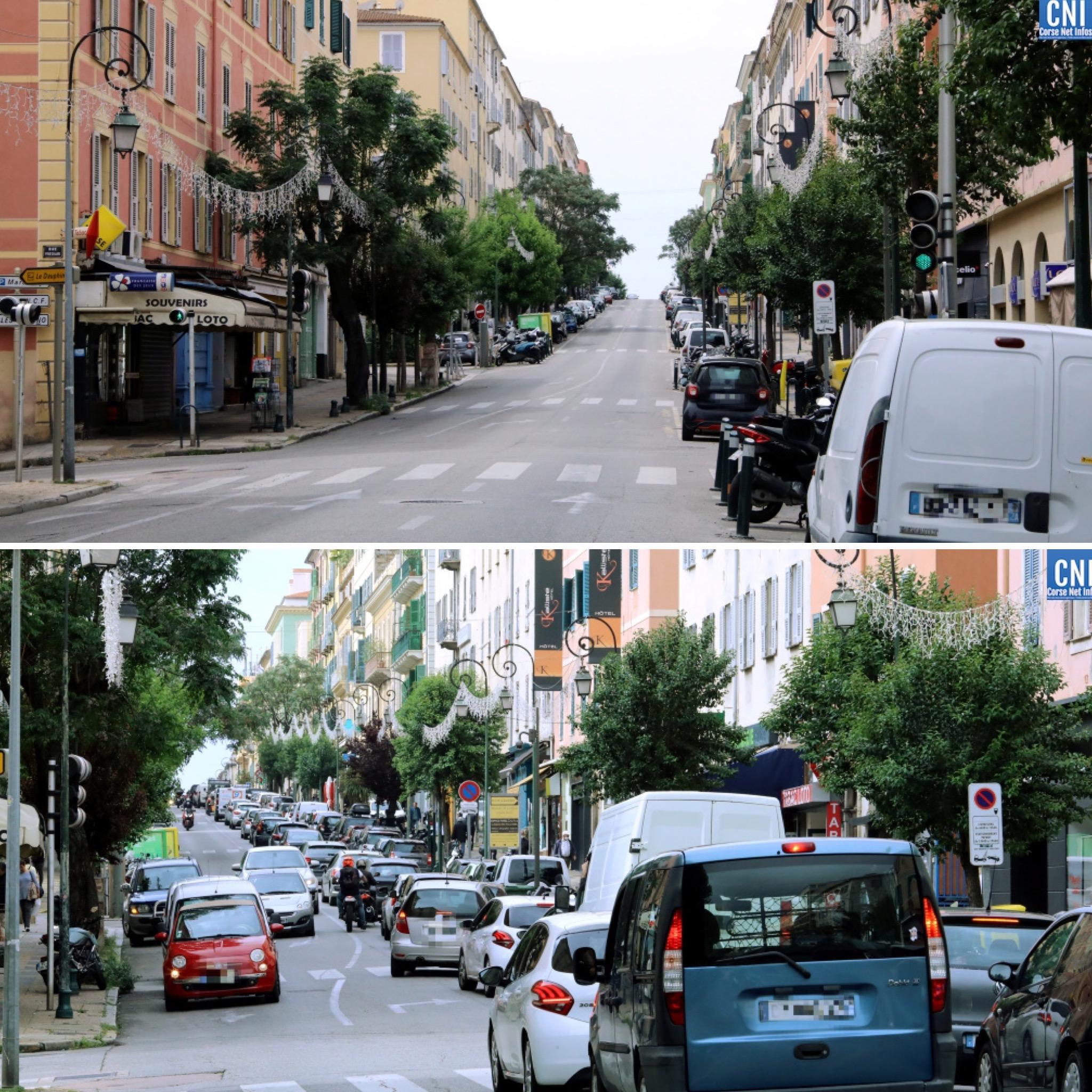 Déconfinement à Ajaccio :  le retour des voitures sur le cours Napoléon