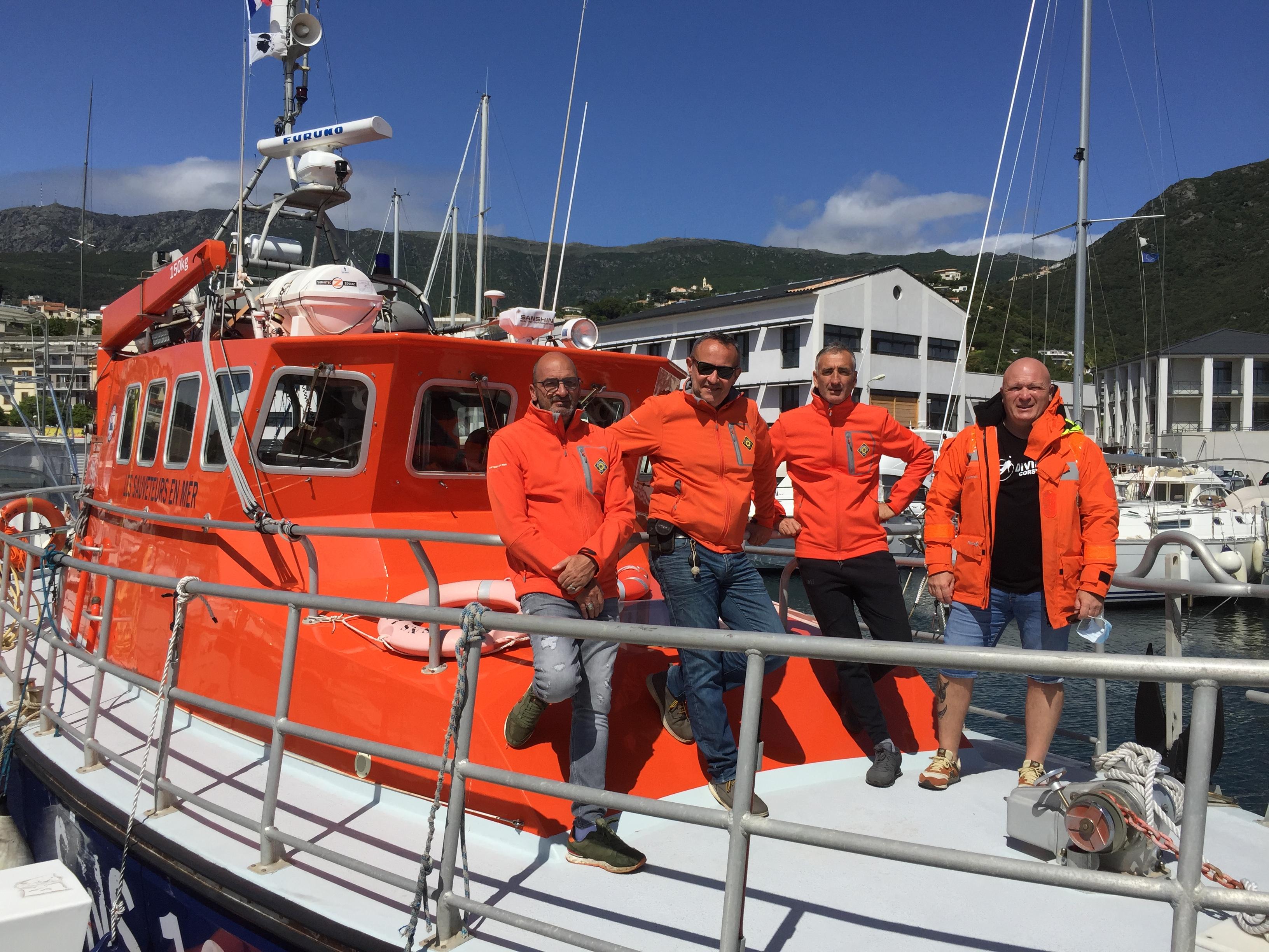Quelques uns des bénévoles de la SNSM Bastia : Frédéric Pietri, Stéphane Lucchini, Marco Jaumon et Tony Viacara