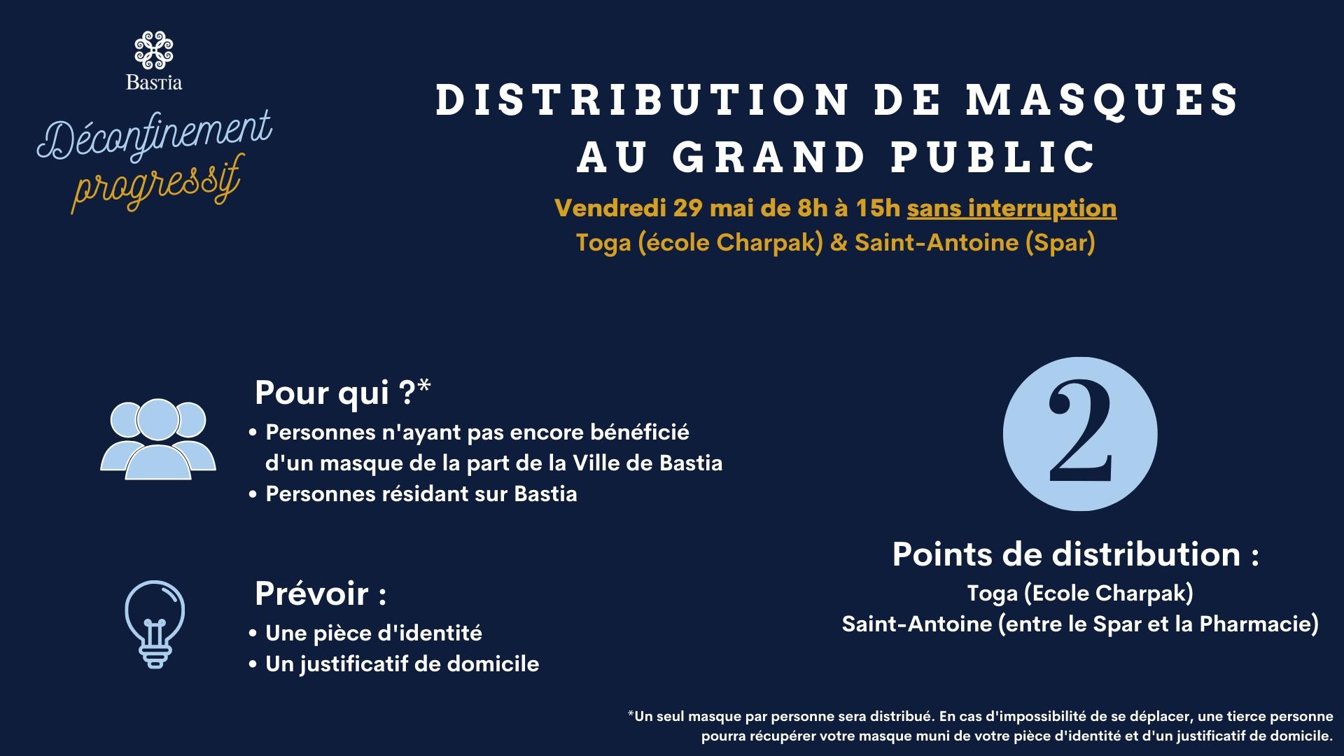 Bastia : nouvelle distribution de masques aux résidents