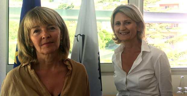 Le Dr Bianca Fazi, médecin urgentiste à l'hôpital d'Aiacciu et conseillère exécutive en charge de la santé et du social, et Nanette Maupertuis, conseillère exécutive en charge des Affaires européennes et présidente de l'Agence du tourisme de la Corse.