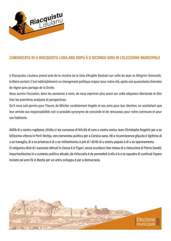 Municipales à Lisula : la réaction de Michel Frassati après la victoire d'Angèle Bastiani