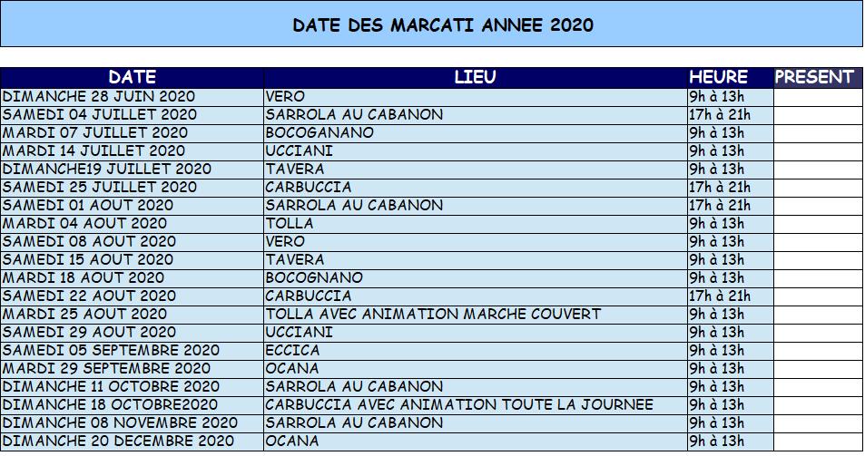 Retrouvez toutes les dates de I Marcati Paesani Celavu-Prunelli