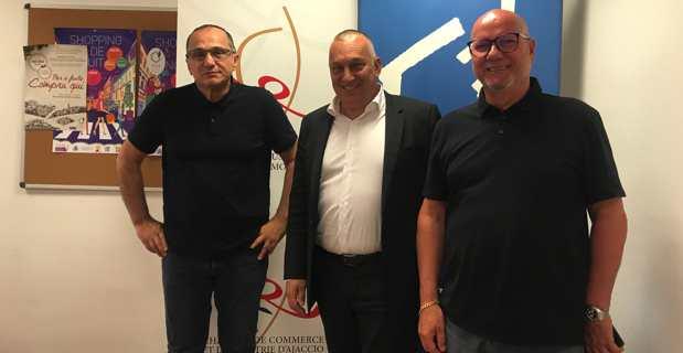 Les présidents de la Chambre de Commerce et d'industrie de Corse, Jean Domininci et Paul Marcaggi, et le président de la Commission Entreprises & Territoires, Pierre Orsini.