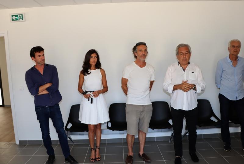 les trois médecins présents, le maire de Calvi Ange Santini et son adjoint Jean-Louis Delpoux
