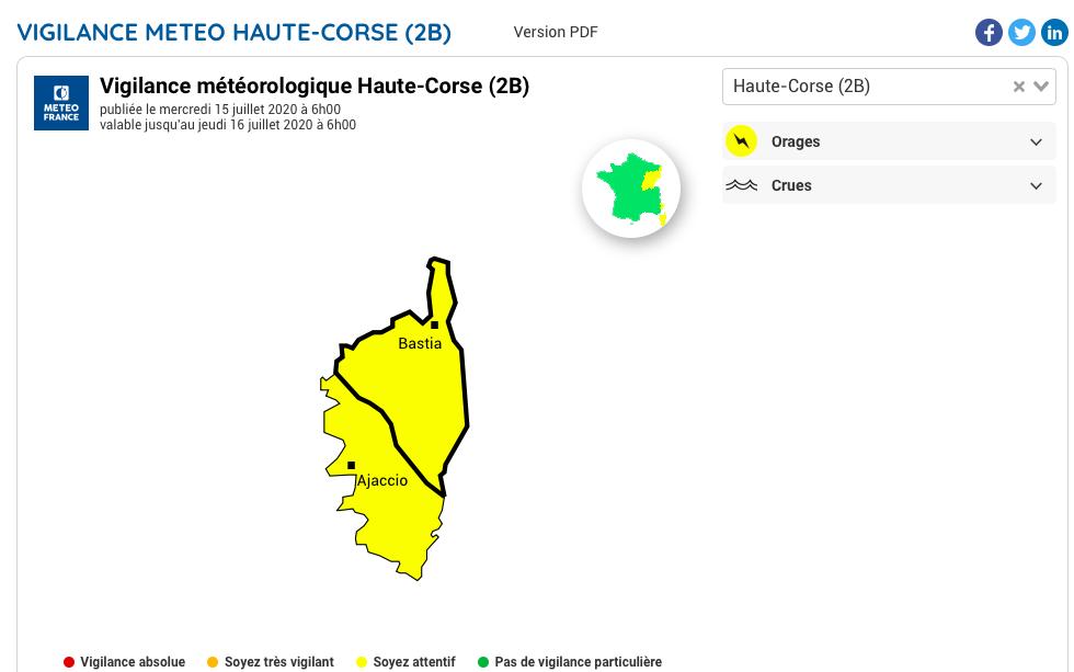 Météo. La Corse placée en vigilance jaune orages ce mercredi 15 juillet