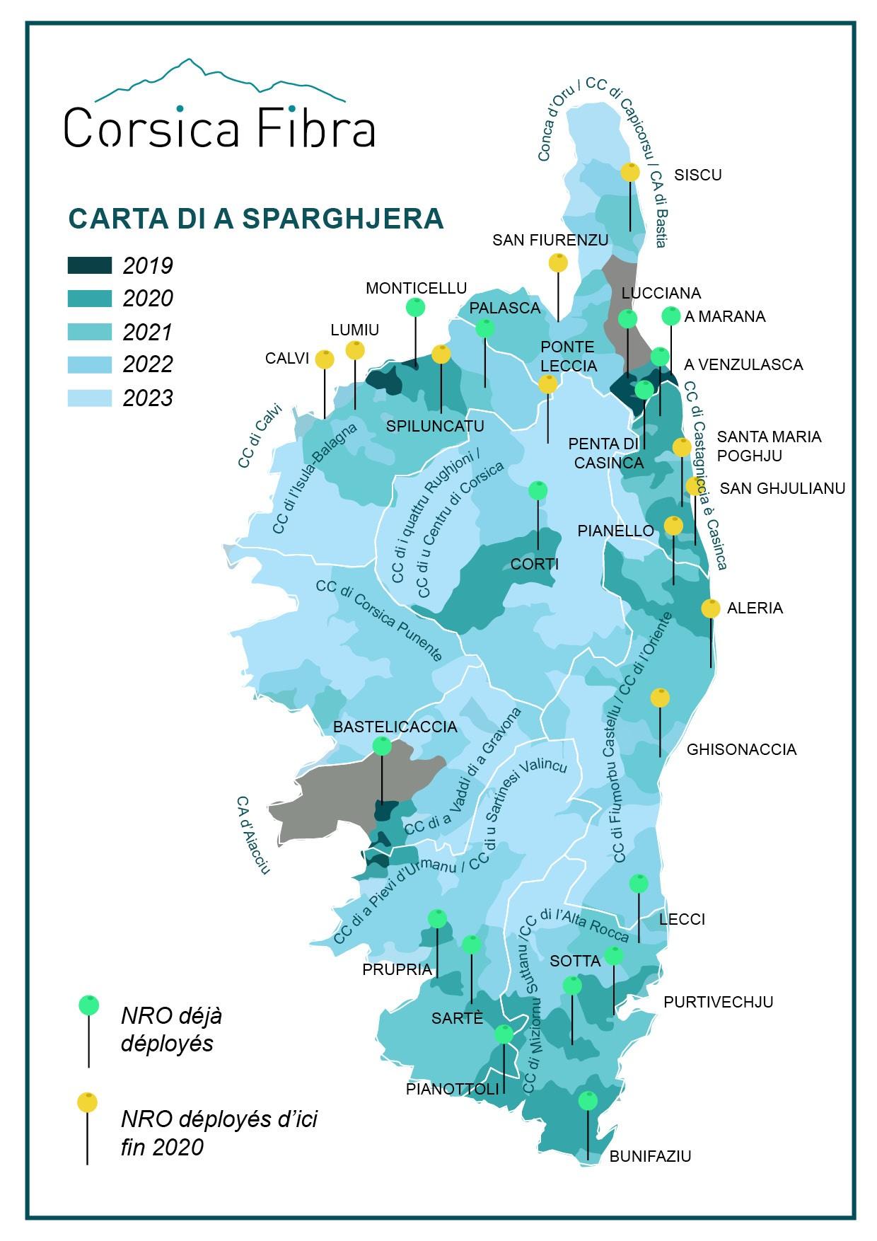 Les travaux de déploiement de la fibre optique s'accélèrent sur le réseau Corsica Fibra