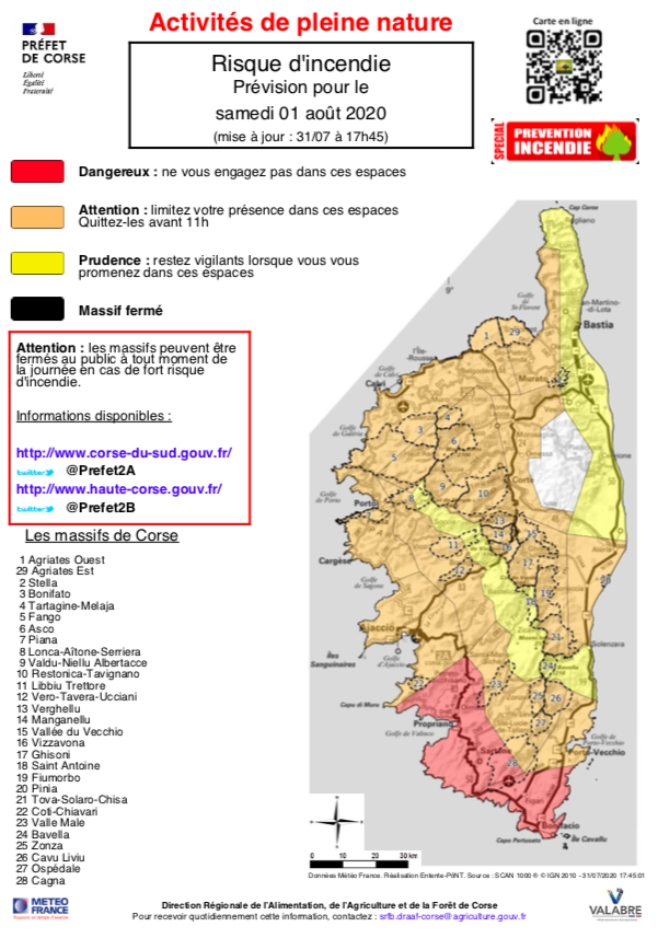 Risque incendie : plusieurs massifs corses en niveau orange ce 1 aout