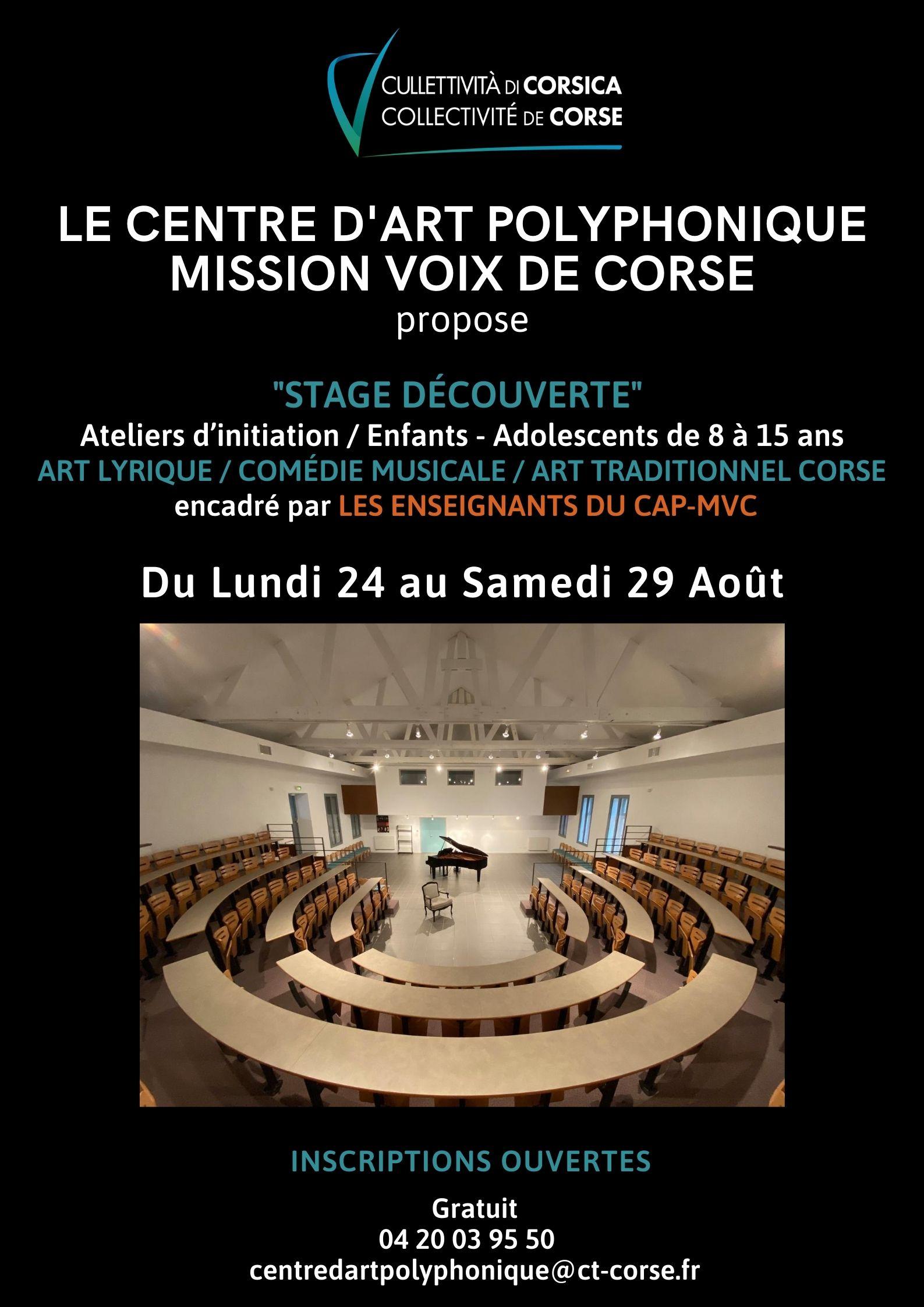 Un stage-découverte proposé par le Centre d'Art Polyphonique de Sartène