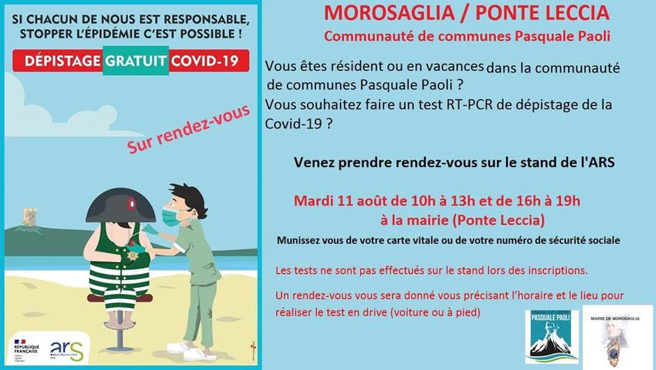Coronavirus : campagne de dépistage gratuit dans la communauté de communes Pasquale-Paoli