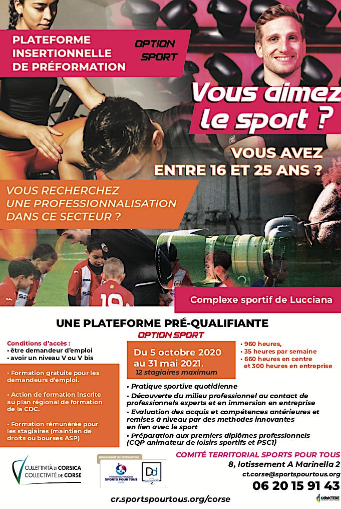 Corse : une plateforme de préformation option sport