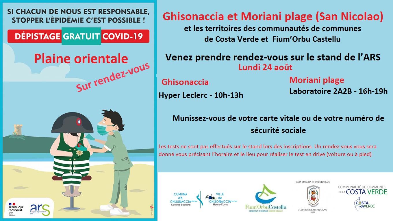 Plaine orientale : 7ème campagne de dépistage gratuit de la Covid-19 en Corse