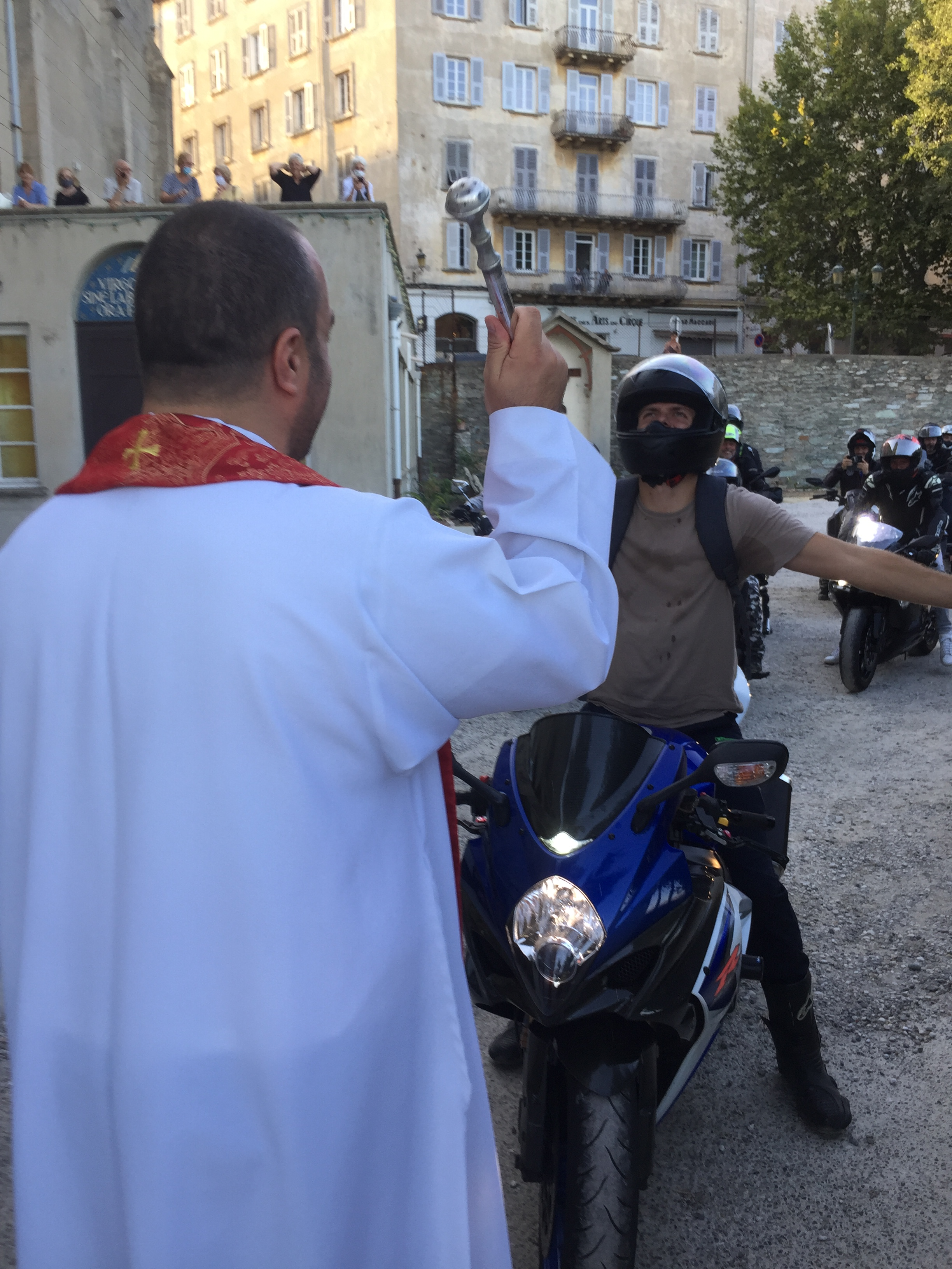 Saint Christophe : bénédiction des motos à Notre Dame de Lourdes de Bastia