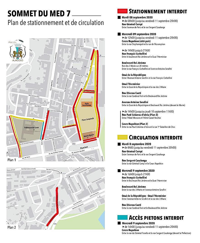Sommet du Med 7 à Ajaccio : plan de circulation et stationnement règlementé