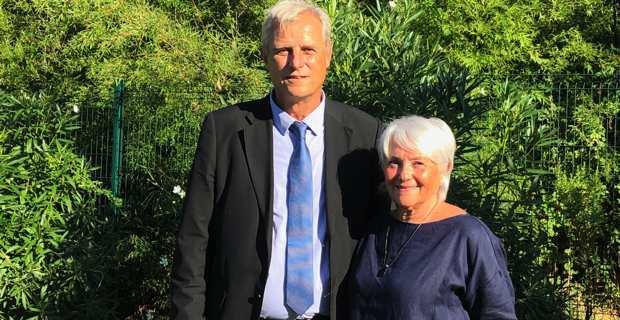 Jean-Marie Séité, maire de Galeria, et de Charlotte Terrighi, maire de Vignale, candidat de droite et sa suppléante à l'élection sénatoriale de Haute-Corse.